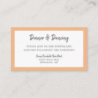 Dinner & Dancing Details Peach Wedding Elegant Enclosure Card