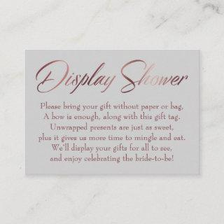 Display Shower Rose Gold & Gray Insert Tag Card