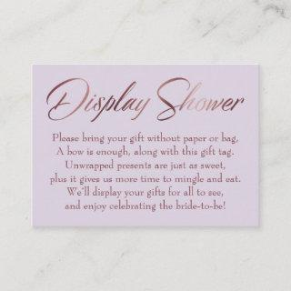 Display Shower Rose Gold & Lilac Insert Tag Card