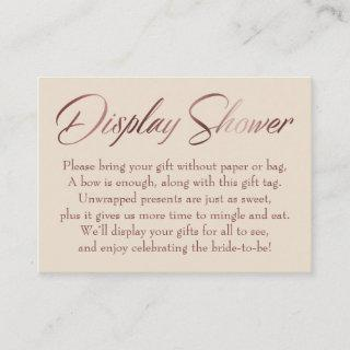 Display Shower Rose Gold on Ivory Insert Tag Card