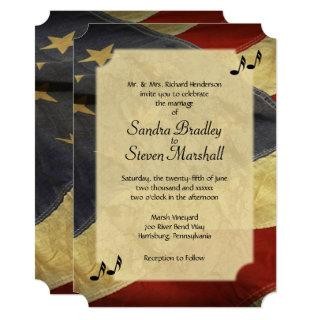 Distressed American Flag Music Wedding Invitations