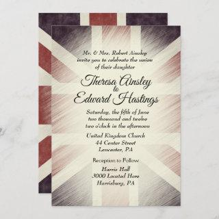 Distressed British  Flag Wedding Invitations