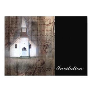 Distressed Wood primitive Rustic country church Invitation