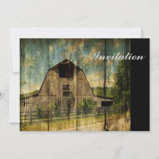 Distressed wood primitive Western Country Old Barn Invitation