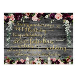 DIY Rustic Fancy Gold Swashed Script Announcement Poster