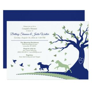 Dogs Chasing Birds Couple's Shower Invitations