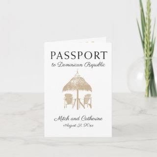 Dominican Repbulic Tan Palm Tree Passport Wedding Invitations