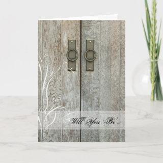 Double Barn Doors Will You Be My Bridesmaid Card