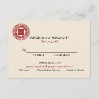 Double Happiness Chinese Wedding Invitations - RSVP