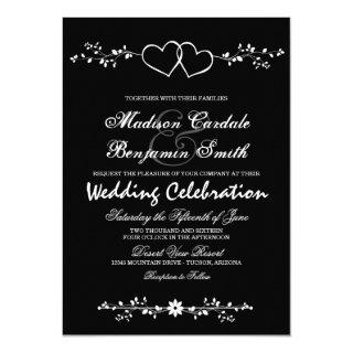 Double Hearts Black and White Wedding Invitations