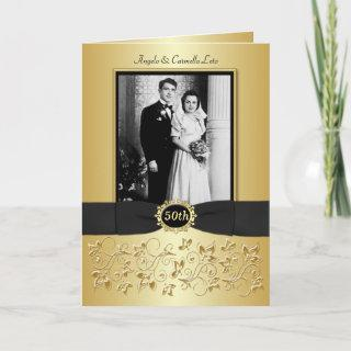 Double Photo 50th Anniversary  Card