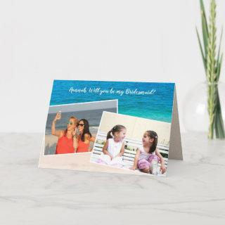 Double Photo Will You Be My Bridesmaid Folded Card