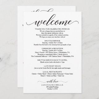 Double Sided Wedding Itinerary - Wedding Welcome Invitations