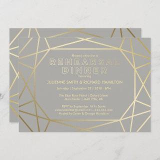 Dove Gray & Gold Sophisticated Rehearsal Dinner Invitation