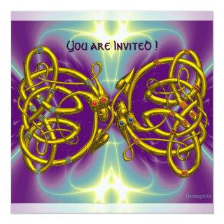 DRAGON LOVE Gold Celtic Knots Fantasy Invitation