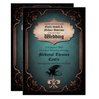 Dragon Wedding Medieval Gothic Vintage Thrones Invitations