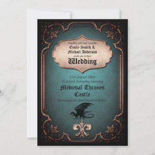 Dragon Wedding Medieval Gothic Vintage Thrones Invitation