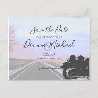 Dreams of the Open Road Motorcycle Wedding Announcement Postcard