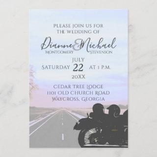 Dreams of the Open Road Motorcycle Wedding Invitation