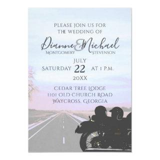 Dreams of the Open Road Motorcycle Wedding Invitations