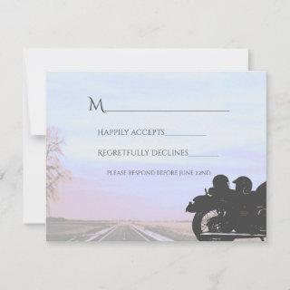 Dreams of the Open Road Motorcycle Wedding RSVP Card