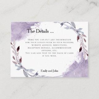 Dreamy Purple Leaves Watercolor Wedding Details Enclosure Card