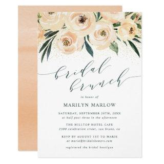 Dreamy Sea Rose Gold Glitter Bridal Shower Brunch Invitations