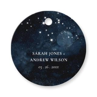 Dreamy Shiny Navy Starry Night Watercolor Wedding Favor Tags