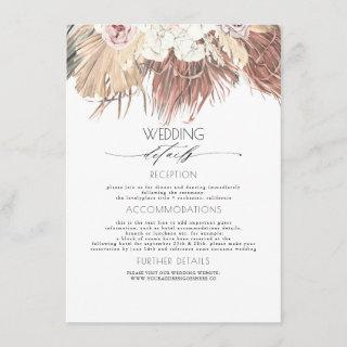 Dried Palm Tropical Foliage Wedding Information Enclosure Card