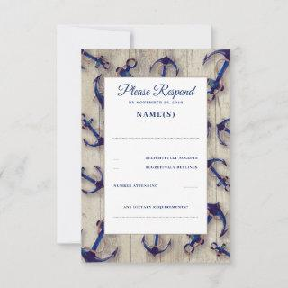 Driftwood and Navy Blue Anchors Wedding RSVP Cards