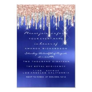 Drips Silver Blue Bridal Sweet 16th Wedding Invitations
