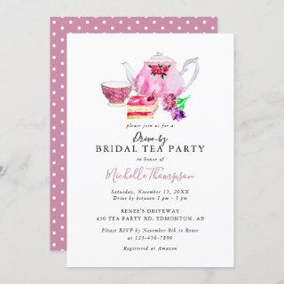 Drive-by Bridal Shower Tea Party Pink Teapot Invitations