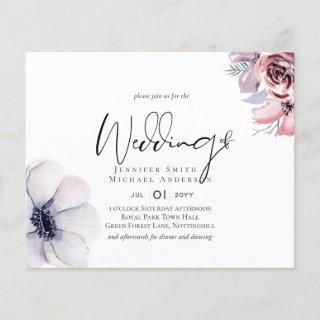 Dusky Navy Blue Coral Floral Script Wedding Set