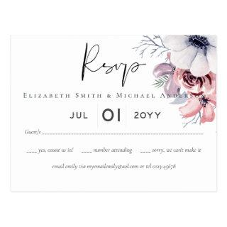Dusky Navy Blue Coral Floral Script Wedding Set Postcard