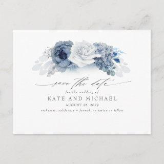 Dusty and Navy Blue Floral Boho Save the Date Postcard