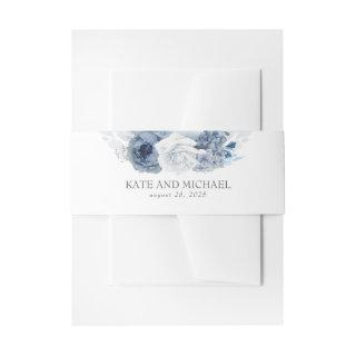 Dusty And Navy Blue Floral Wedding Invitations Belly Band