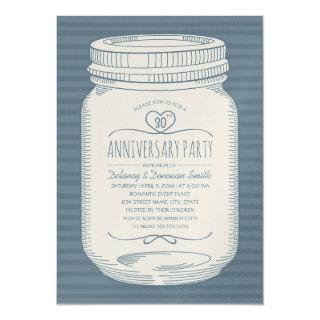 Dusty Blue 30th wedding anniversary Mason Jar Invitations
