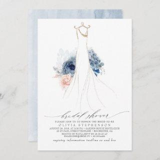 Dusty Blue and Blush Flowers Dress Bridal Shower