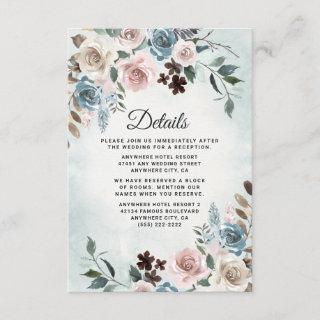 Dusty Blue and Blush Pink Mauve Floral Wedding Enclosure Card