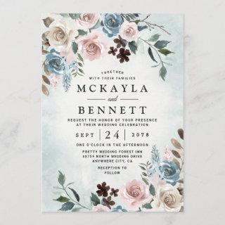 Dusty Blue and Blush Pink Mauve Floral Wedding Invitations