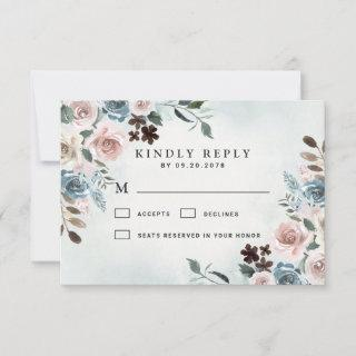 Dusty Blue and Blush Pink Mauve Floral Wedding RSVP Card