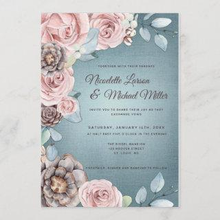 Dusty Blue and Blush Pink Woodland Wedding Invitations