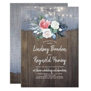 Dusty Blue and Blush Rustic Country Wedding Invitation