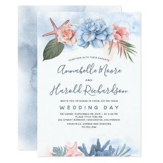 Dusty Blue and Blush Tropical Beach Wedding Invitation