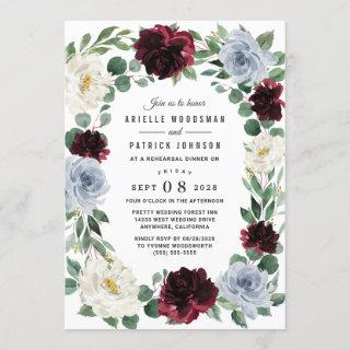 Dusty Blue and Burgundy Boho Fall Rehearsal Dinner Invitations