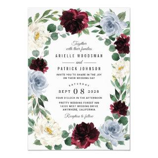Dusty Blue and Burgundy Cranberry Fall Wedding Invitations