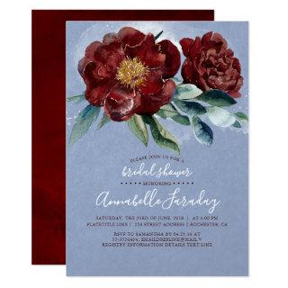 Dusty Blue and Burgundy Red Floral Bridal Shower Invitations