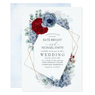 Dusty Blue and Burgundy Red Floral Elegant Wedding Invitation