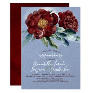 Dusty Blue and Cranberry Burgundy Engagement Party Invitation