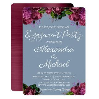 Dusty Blue and Cranberry Burgundy Engagement Party Invitations